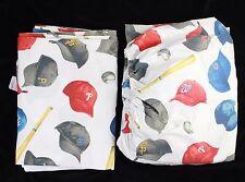 Pottery Barn Kids MLB Baseball Hats Sheet Set Twin Flat & Fitted Sheets Organic