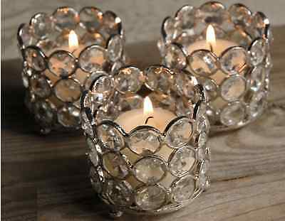 4Pc Gold Crystal Votive Tealight Candle Holders Wedding Centrepieces Candlestick