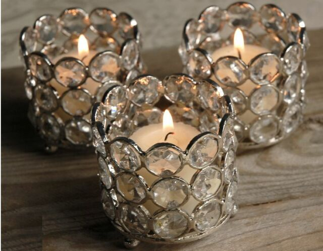 4 Pcs Crystal Votive Tealight Candle Holders Wedding Centerpieces Candlesticks