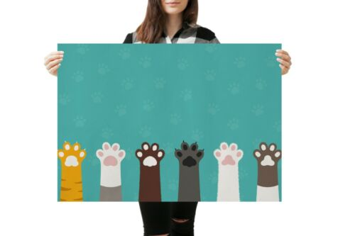 A1Cat Paws Cute Turquoise Poster Art Print 60 x 90cm 180gsm Art Animal #14270