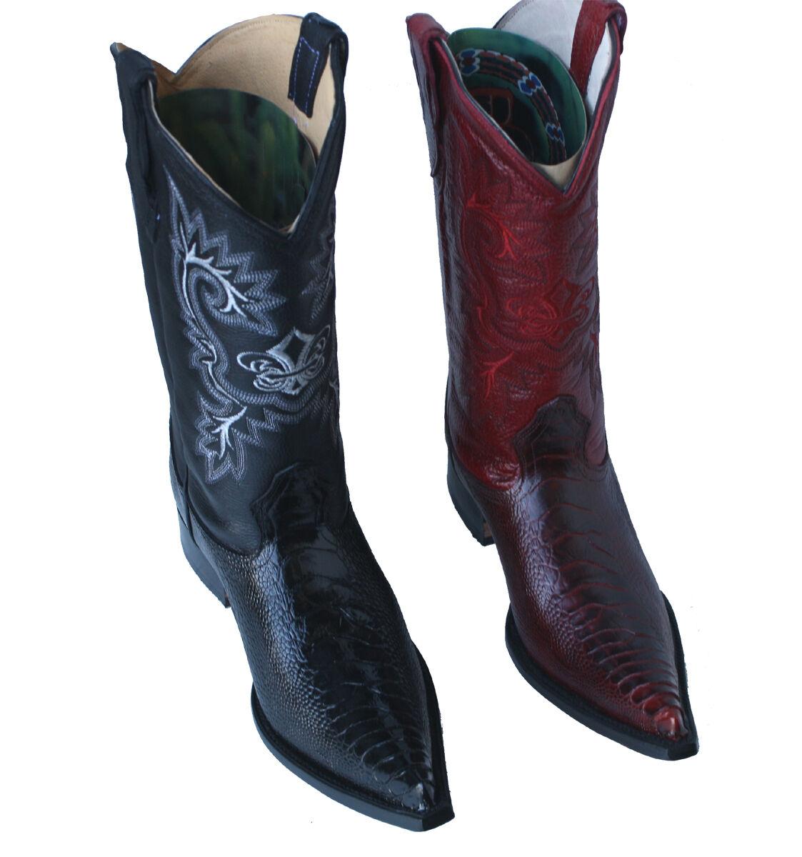 Men's Ostrich Leg PRINT Cowboy Boots Genuine Leather Style  8020