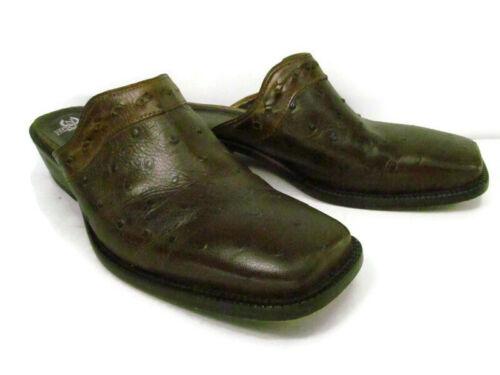 Nocona Brown Leather Block Heel Mules Shoes Women'