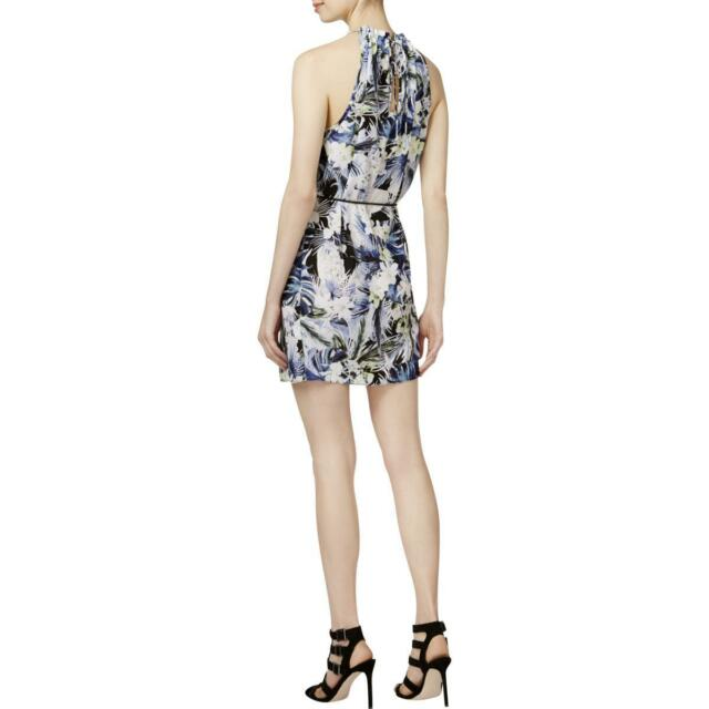 Kensie Womens Blue Floral Print Keyhole Sleeveless Cocktail Dress S