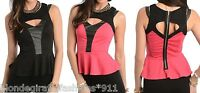 Fuchsia/Black Open Zip Back Pleather Trim Sleeveless Peplum Blouse Top S M L