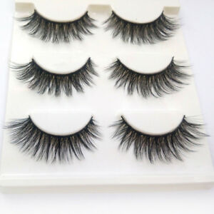 3-Pairs-100-Real-3D-Mink-Makeup-Cross-False-Eyelashes-Eye-Lashes-Handmade