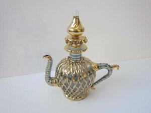 Vintage-Perfume-Bottle-Blue-Green-Gold-Woven-Overlay-Tea-Pot-Gold-spout-Topper