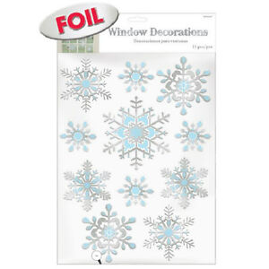 11 christmas frozen embossed snowflakes party foil window cling