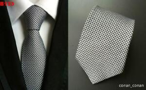 Tie Grey and Black Patterned Handmade 100/% Silk Mens Wedding Formal Necktie