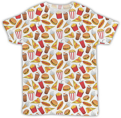 HAMBURGER PIZZA FRIES ALL OVER PRINTED T SHIRT BIRTHDAY PRESENT UNISEX TSHIRT