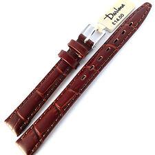 12mm. LONG. DARLENA 1209 ANTIQUE CROC GRAIN BROWN LEATHER WATCH STRAP SILVER