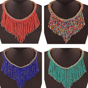 Statement-Necklace-Choker-Boho-Chic-Gypsy-Tassel-Collar-Pendant-Fashion-Jewelry