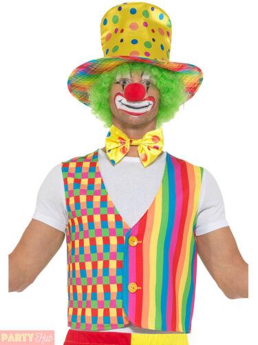 Mens Ladies Clown Kit Hat Bowtie Waistcoat Rainbow Carnival Fancy Dress Costume