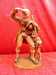 Beautiful-Holzfigur-Mann-And-Child-IN-Lederhosen-Tyrol-Carved-And-Painted