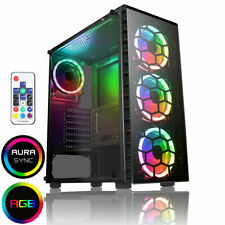 CiT Raider Gaming PC Case 4x Halo Spectrum RGB LED Fans Tempered Glass Panels