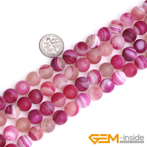Banded Plum Agate Natural Frost Gemstone Loose Beads  for Jewelry Spacer Agate