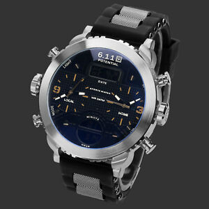 Men-039-s-Outdoor-Sport-Orange-Hands-Quartz-Watch-Digital-Display-Black-Dial-Silver