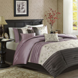 Beautiful Modern Chic Purple Plum Grey Leaf Pintuck Soft Comforter