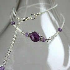 Purple amethyst gemstone silver chain collar choker wedding bridesmaid necklace