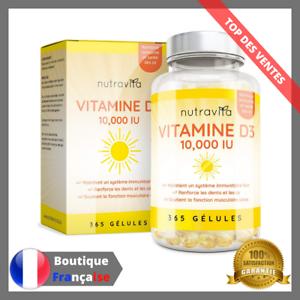 Vitamine-D3-10-000-IU-365-Gelules-Articulations-Os-Dents-Bonne-Sante-Immunise-D