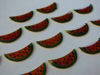 17 Vintage Flat Stampings Gold Tone Metal Colored Watermelon Slices Charm Craft