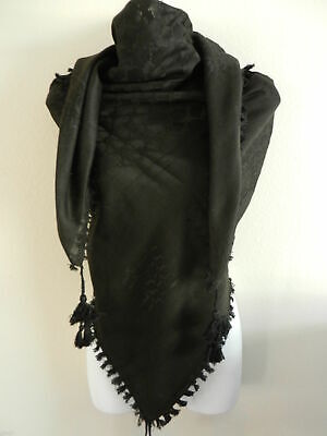 Black And White Arab Shemagh Head Scarf Neck Wrap Cotton .Black And White scarf