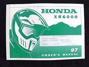 GENUINE-1997-HONDA-600-XR600R-DIRT-BIKE-MOTORCYCLE-OPERATORS-MANUAL-VERY-GOOD