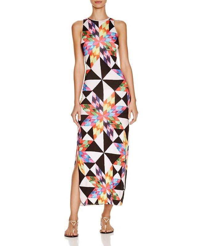 NWT  242 Sz XS Mara Hoffman Fractals Peach Swim Cover Maxi Column Dress