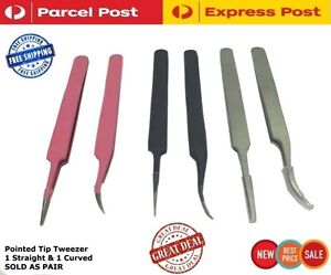 Eyelash-Hair-Extension-Tweezers-Remover-Nail-Art-Curved-And-Pointed-Tip-Kit