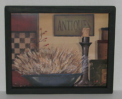 "Primitive Country Antiques candle Checkerboard  9"" X 11"" WALL DECOR"