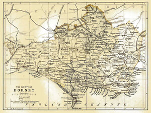 An enlarged map of The County of Dorset, England, Original dated1882 on