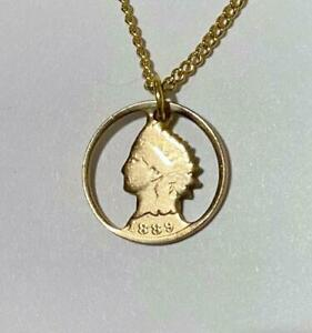 Cut-out Coin Jewelery Indian Head Cent with Necklace