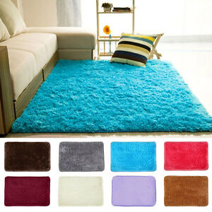 Image Is Loading Shaggy Fluffy Rugs Anti Skid Area Rug Dining