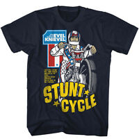 Evel Knievel In Sizes 3xl - 5xl Mens T-shirt Stunt Cycle In 100% Navy Cotton