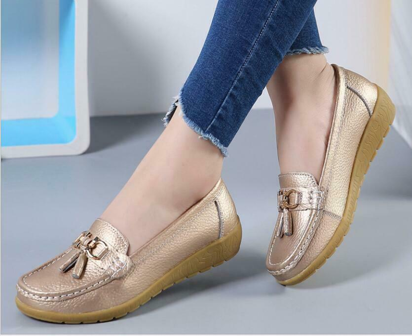 Women shoes Pull On Hidden Heels Leather Solid color Casual Comfortable NEW