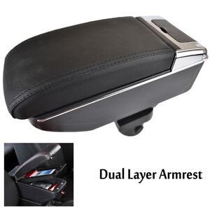 Dual-Layer Black Leather Arm Rest For Yaris Vitz Hatchback 2006-2011 Charade 2011-2013 Centre Console Storage Box Armrest