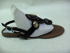 MADELINE STUART BUTLER SIZE 6 SANDALS SHOES T-STRAP THONG BLACK GOLD YELLOW NEW