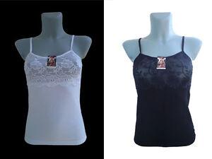 0ebd278e6735e4 Details zu Damen Unterhemd Spitze Baumwolle Top Spagghettiträger Trägerhemd  Weiß Schwarz