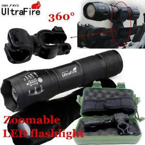 Ultrafire-Flashlight-60000LM-T6-LED-Zoomable-Tactical-18650-Torch-Bicycle-Holder