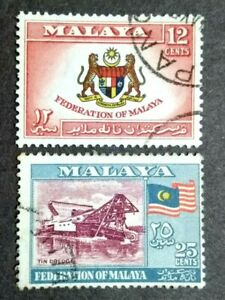 1957-Federation-Of-Malaya-General-Issue-12c-amp-25c-2v-Used-2