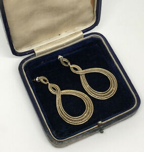 Monet-80s-Vintage-Statement-Earrings-Gold-Tone-Rope-Design-Drop-Dangle-Costume