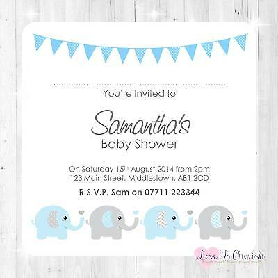 Personalised BABY SHOWER Invites Elephants & Hearts Design - BOY GIRL UNISEX