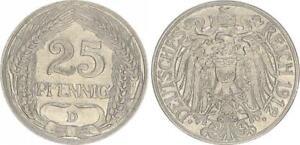 Empire 25 Pfennig J.18 1912 D XF 50901