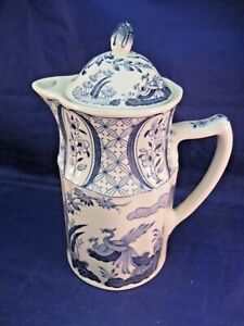 ANTIQUE-TEA-OR-COFFEE-POT-BY-OLD-CHELSEA-FURINVALS-ENGLAND-UNUSUAL-SHAPE