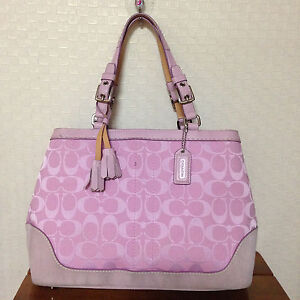 ... brooke leather carryall handbag crossbody im peony a8317 e938c  promo  code for image is loading coach signature carryall purse handbag tote  canvas pink ... 0fc46b42e7ba9