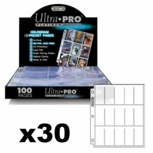 ULTRA-PRO-15-POCKET-PLATINUM-SERIES-TOBACCO-CIGARETTE-CARDS-SLEEVES-30-PAGES