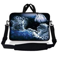 "10"" 9 Tablet Netbook Sleeve Bag Case Pouch Shoulder Strap iPad White Leopard S10"
