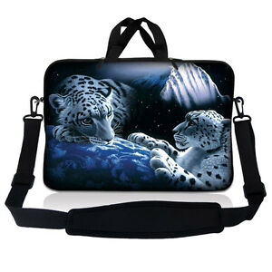 "10/"" 9 Tablet Netbook Sleeve Bag Case Pouch Shoulder Strap iPad White Leopard S10"