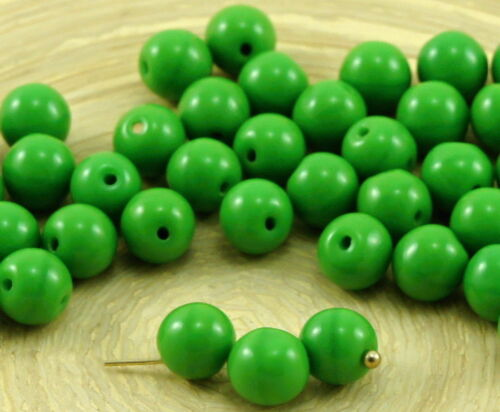 40pcs Opaque Top Hole Drop Round Druk Pressed Czech Glass Beads 6mm