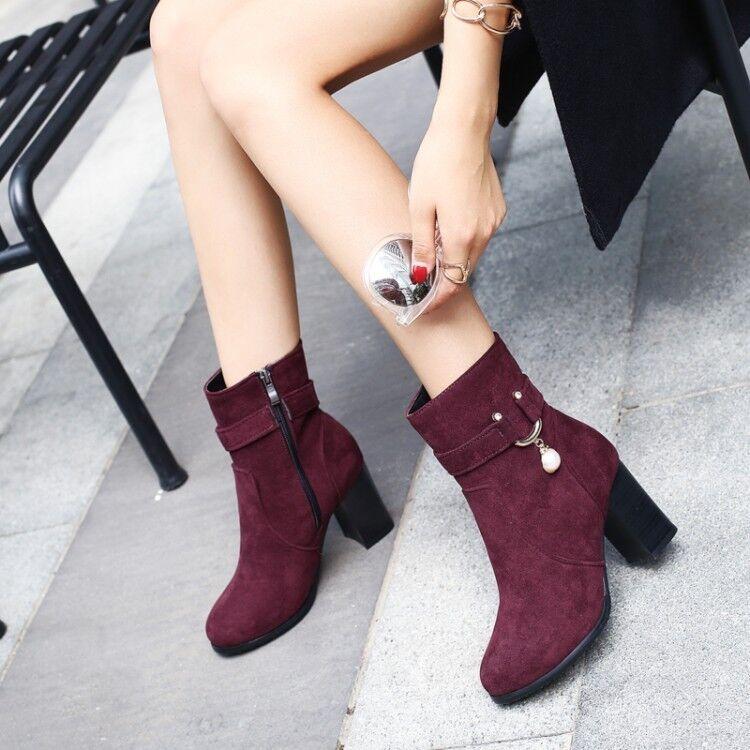 Winter Warm Womens Faux Suede pearl Block High Heel Side zip Ankle Boots