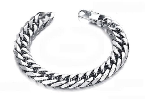 Bracelet tank chaîne en acier inoxydable armkette chars Bracelet argentés 53g 22x1,4cm